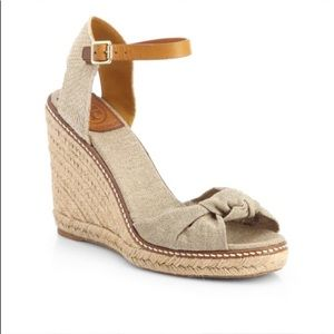Tory Burch Macy Wedge Espadrilles In Gold Wash